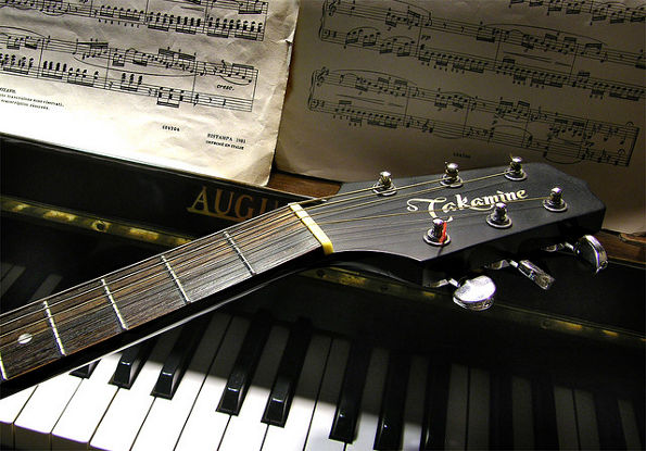 Guitar, piano, and sheet music