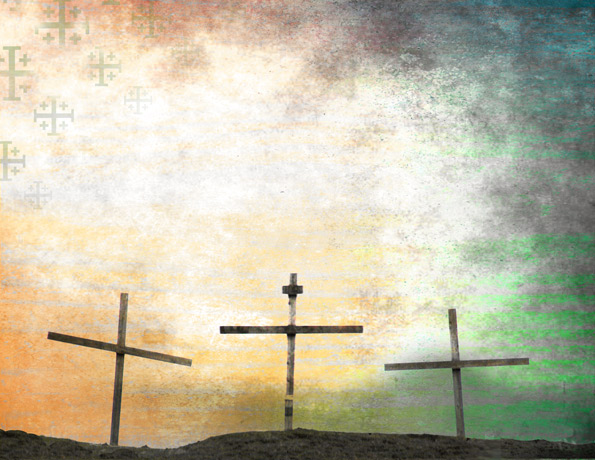 An image of three crosses artistically portrayed